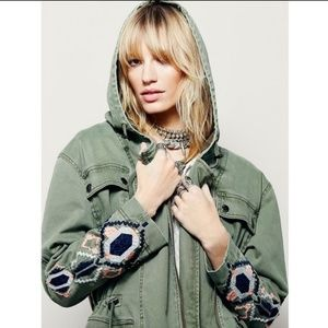 Free People Jackets & Coats - Free People Embroidered Twill Parka